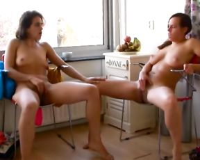 Lesbian yoga girls in mutual masturbation video