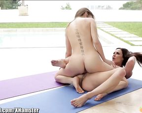 Kendra Lust and Riley Reid in a lesbian yoga session