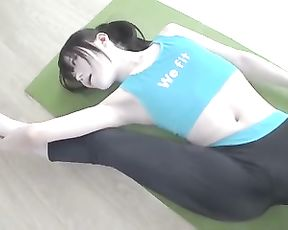 Japanese cosplay yoga girl in tight yoga pants