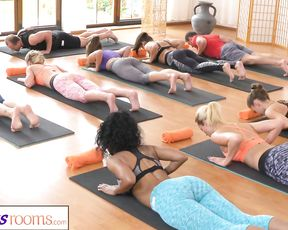 Fitness Rooms group yoga porn session