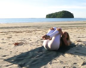 Yoga cameltoe on the beach