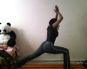 Webcam yoga stretching