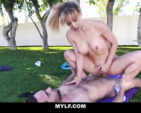 Naked MILF fucks her young yoga assistant