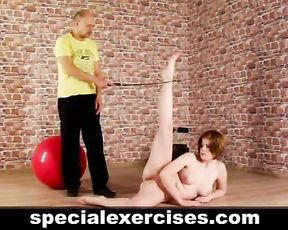 Special nude yoga training for redhead girl