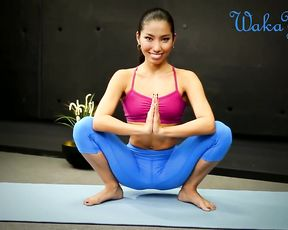 Yoga meditation with sexy Asian beauty in tight yoga pants