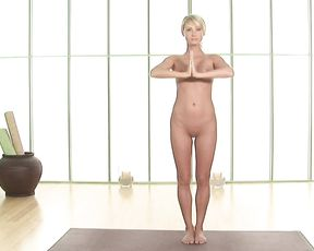 Naked blonde shows dancer's pose in yoga instructional video