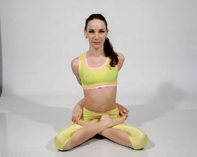 Super flexible skinny girl does erotic yoga exercises