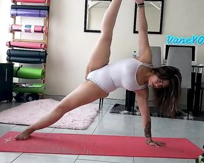 Homemade hot yoga video in see-though bodysuit
