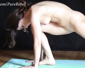 Flexible naked girl with shaved pussy performs yoga sex poses