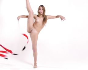 Gymnastic porn performance with a ribbon