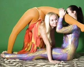 Super flexible gymnasts in sexy yoga video