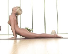 Naked plank pose, upward facing dog and downward facing dog