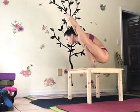 Flexible girl in sexy yoga video