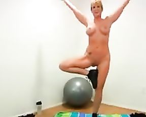 Mature nude yoga