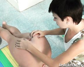 Lesbian yoga sex workout by the swimming pool