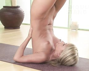Naked yoga shoulder stand with plow pose
