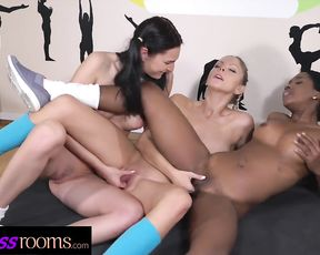 Interracial threesome sex in yoga class with naked lesbians