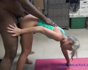 Interracial porn video with naked mature lady doing yoga