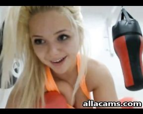 Topless blonde in sexy yoga pants poses on live cam