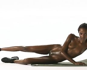 Sexy skinny black girl naked yoga workout