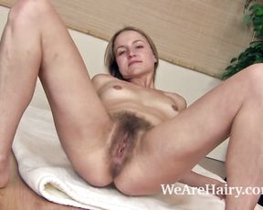 Hairy girl does her morning naked yoga
