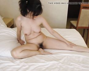 Naked yoga in the bed