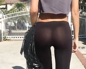 Great ass in see-through yoga pants