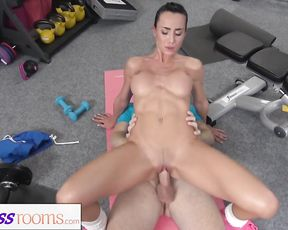 Naked gym girl has flexible yoga sex with her trainer