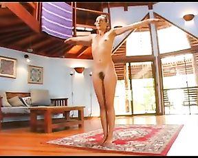 Naked yoga babe