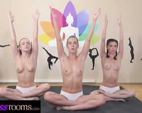 Threesome lesbian yoga sex with gorgeous young girls