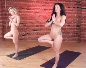 Hot nudist yoga class
