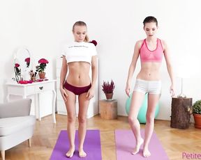 Skinny teen lesbians eat each other's pussies during naked yoga workout