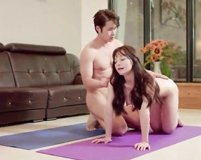 Korean porn yoga fantasies with a naked MILF and her young instructor