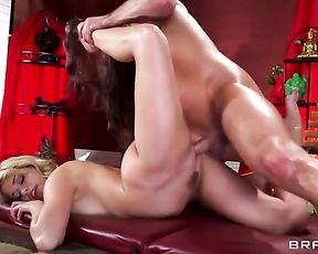 Naked porn star Mia Malkova in massage yoga sex video
