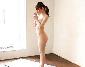 Naked Japanese girl yoga