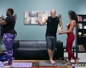 Funny yoga porn class with hot ebony girls