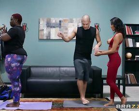Funny yoga porn class with hot ebony girls