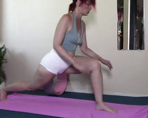 Sexy mature woman with cameltoe perform hot yoga hosannas on this video