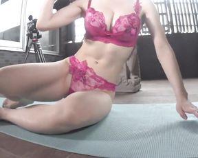 Japanese model's lingerie yoga