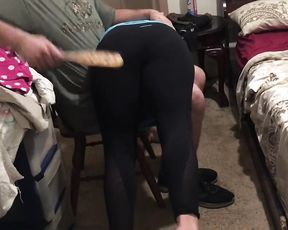 Spanking in tight yoga pants