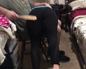 Spanking in tight yoga pants