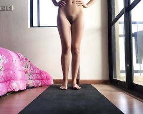 Nude amateur girl does naked yoga workout at home