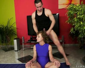 Naked mature woman Katherin has hot yoga sex