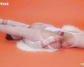 Yoga masturbation sex with a dildo