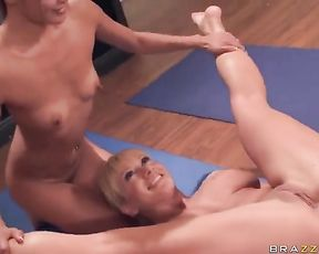 Nude yoga turns into the sexiest lesbian yoga sex workout ever