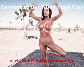 Naked yoga lesson in a desert