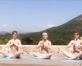 Group nude yoga meditation in public