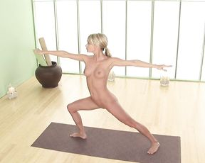 Naked yoga instructional video with more erotic poses
