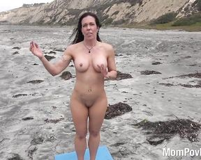 Nude mature woman in public porn yoga video