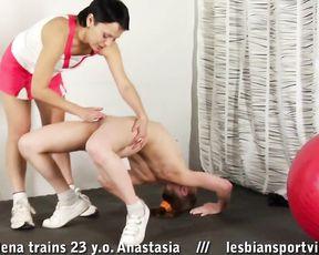 Lesbian porn yoga training